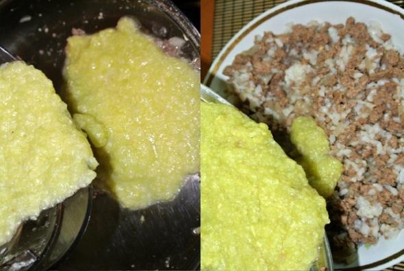 Кабачки, фаршированные мясом, шаг 4 - кабачковое пюре соединяем с мясом и рисом