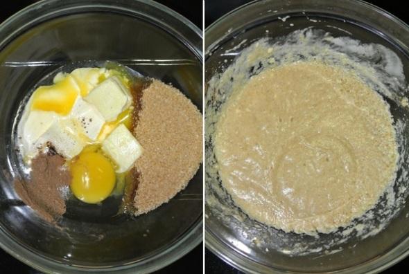 Шаг 1 - перемешиваем масло, сахар, корицу, ванилин, яйцо