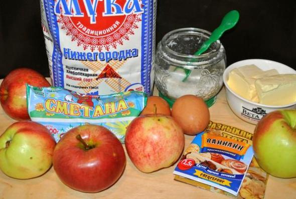 Ингредиенты для яблочного пирога на сметане