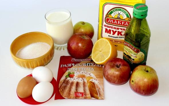 Ингредиенты для лимонного пирога с яблоками