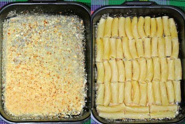 На дно формы выкладываем макароны