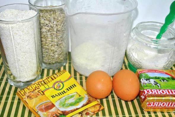 Ингредиенты для приготовления овсяного печенья с маргарином