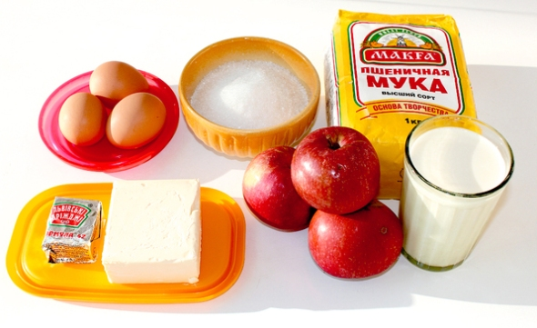 Дрожжевой пирог с яблоками - ингредиенты