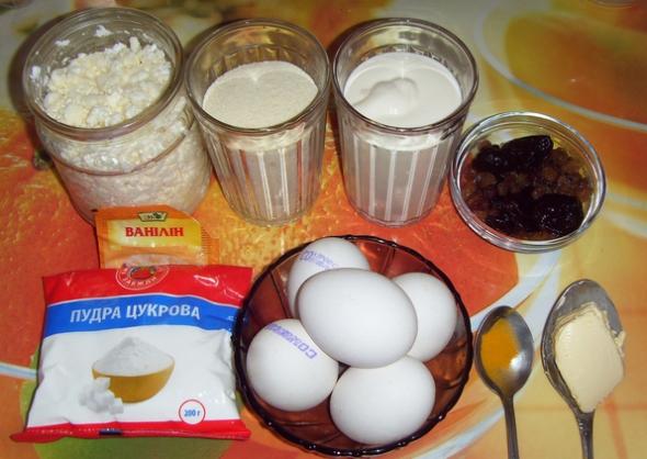 Ингредиенты для творожной запеканки с черносливом
