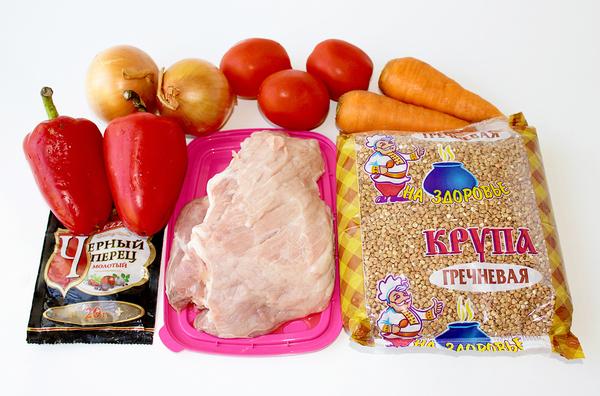 Ингредиенты для приготовления гречки с мясом в духовке