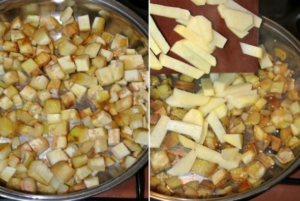 Шаг 1 - баклажаны поджариваем, добавляем картофель
