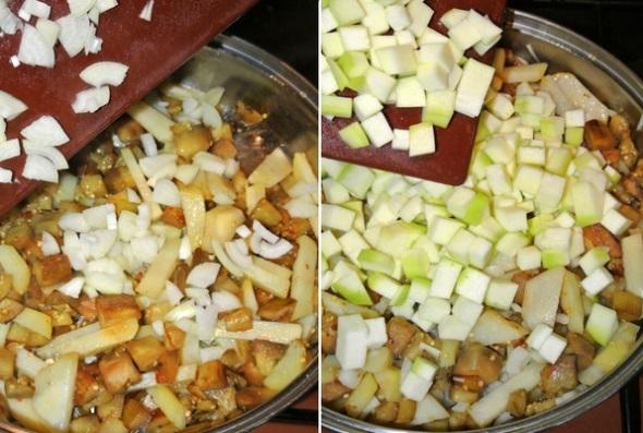 Шаг 2 - добавляем лук и кабачок