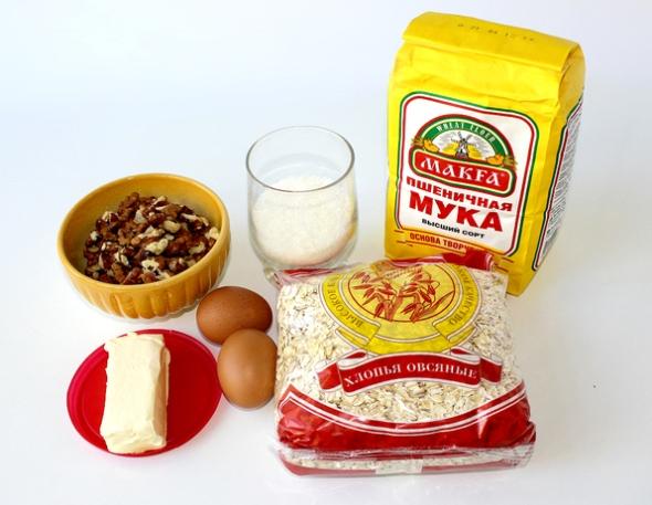 Ингредиенты для приготовления печенья из муки с овсяными хлопьями