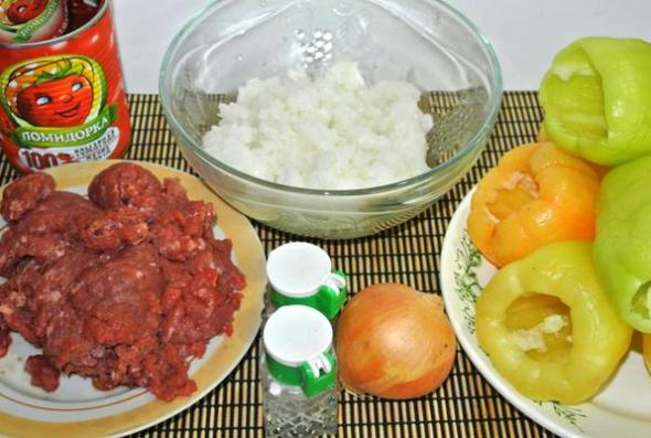 Болгарский перец с фаршем и рисом - ингредиенты