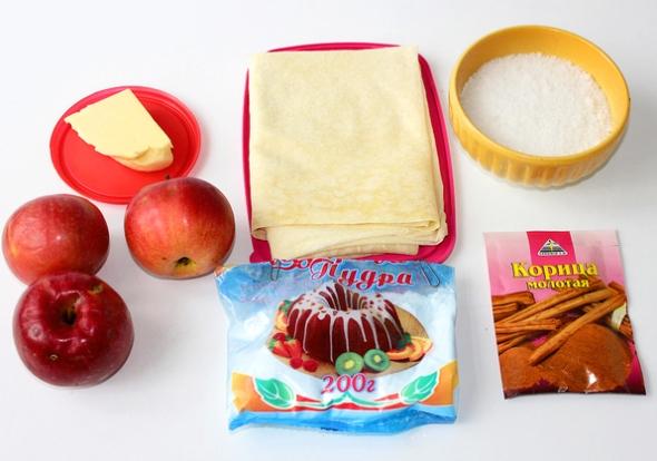 Яблочный штрудель из лаваша. Ингредиенты