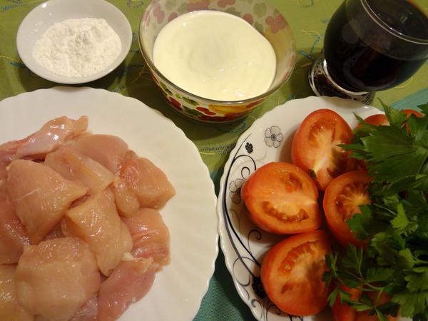 Куриное филе, тушенное с вином – ингредиенты