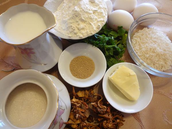 Расстегаи с грибами – ингредиенты