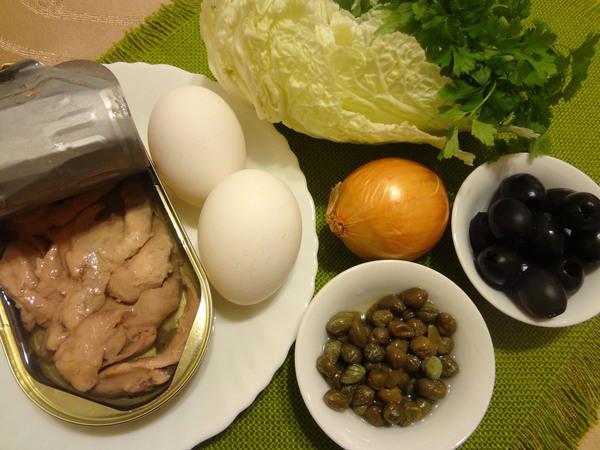 Салат с печенью трески, яйцом и пекинской капустой – ингредиенты