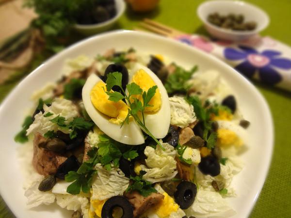 Салат с печенью трески, яйцом и пекинской капустой – шаг 15
