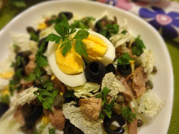 рецепты салата из печени трески с капустой