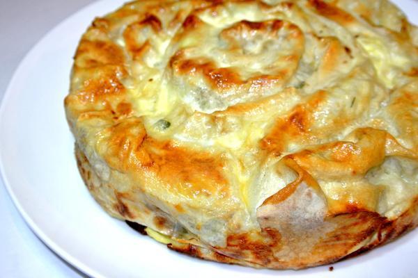 Пирог из лаваша в заливке