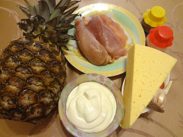 Ингредиенты для ананаса с куриным филе