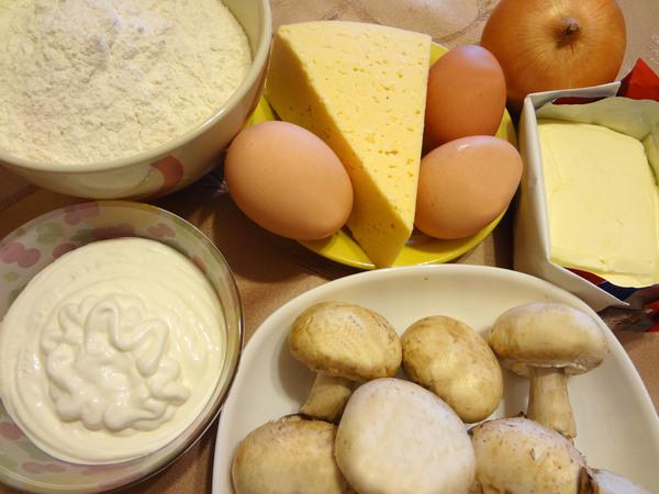 Ингредиенты для пирога с шампиньонами