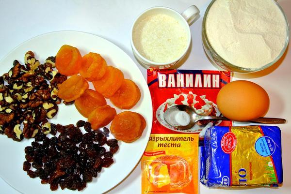 Рассыпчатый кекс с сухофруктами и орехами - ингредиенты