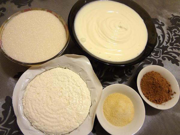 Ингредиенты для творожно-шоколадного десерта