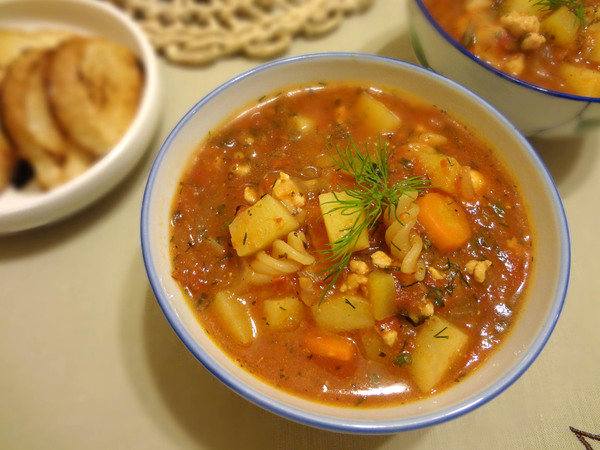 Шаг 10 - подайте суп с гренками