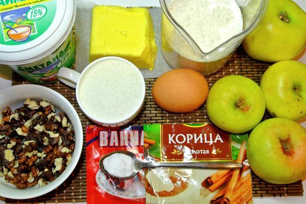 Ингредиенты для яблочного пирога с орехами