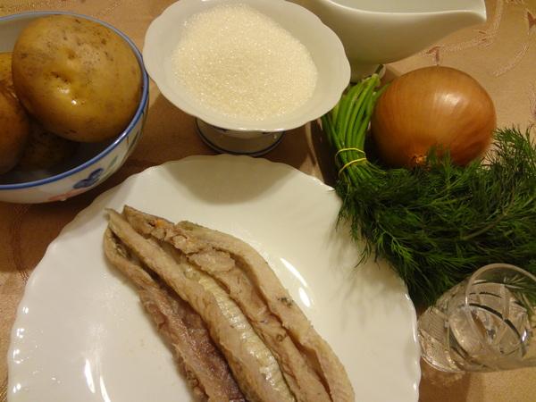 Ингредиенты для закуски из сельди