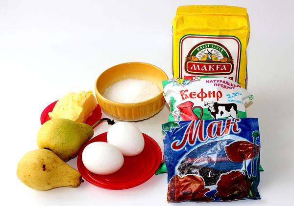 Ингредиенты для макового пирога с грушами
