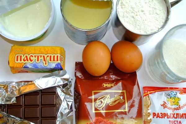 Ингредиенты для шоколадно-мраморного пирога