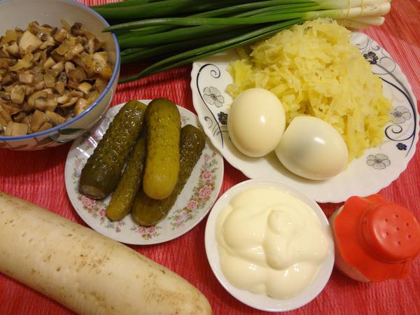 Ингредиенты для салата Нарциссы