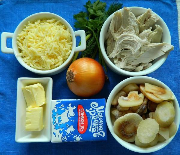 Ингредиенты для жюльена из курицы и грибов