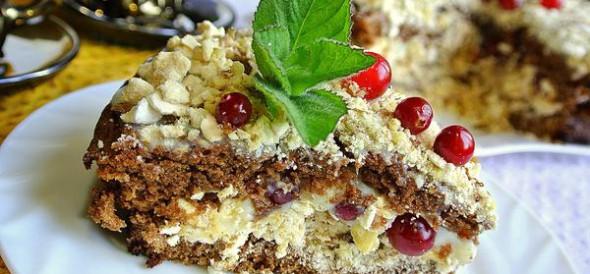 Шоколадный торт с безе, орехами и клюквой