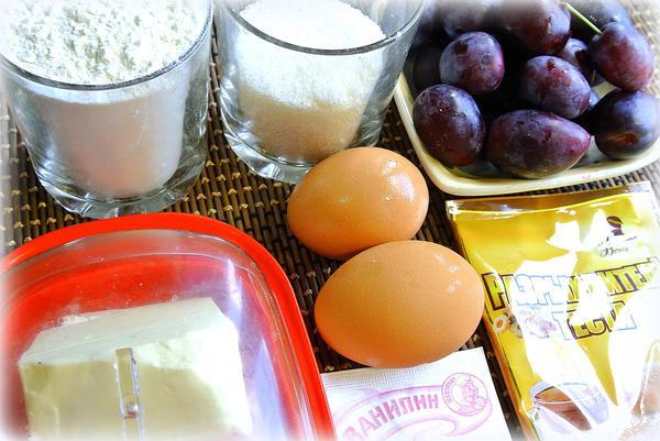 Вкусный пирог со сливами - ингредиенты