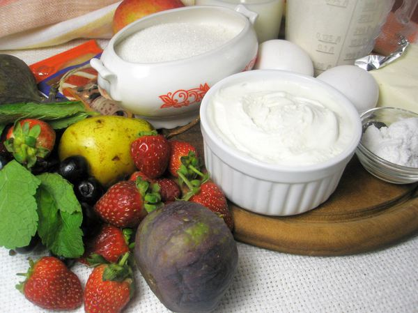 Ингредиенты для бисквита и крема с маскарпоне