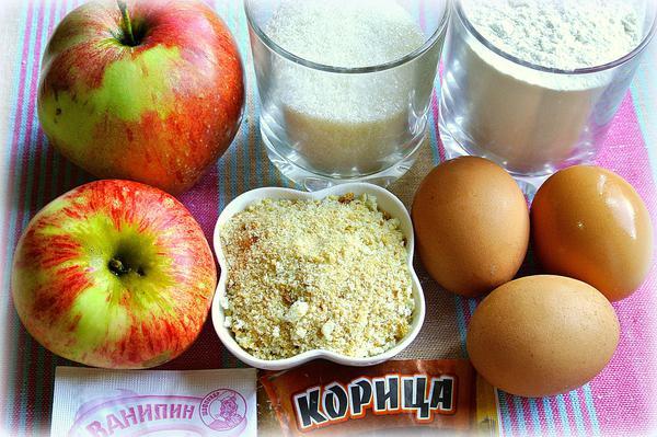 Ингредиенты для самой простой шарлотки