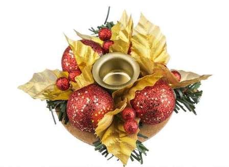 Новогодний подсвечник на одну свечу из елочных шаров и веток ели