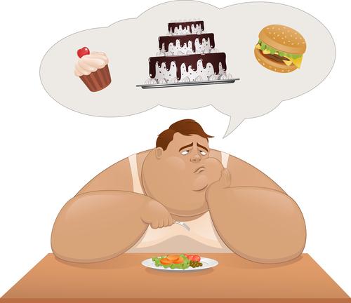 Толстый человек ест салат и мечтает о пирожных