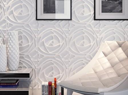 Гипсовые 3D панели c с изображением цветка розы