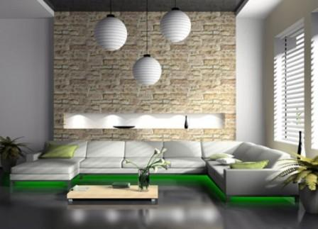 Часть стены в гостиной, выложенна светло-коричневой плиткой