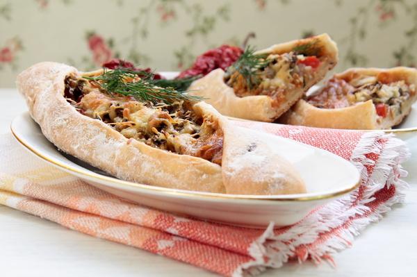 Турецкие пиде - рецепт с грибами фото