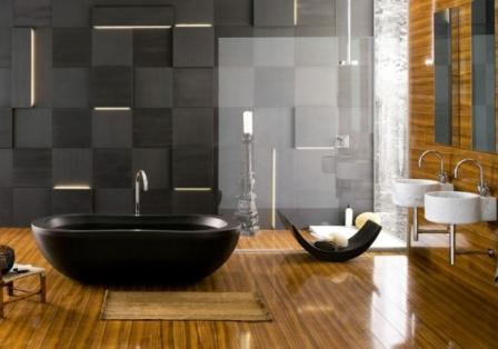 Крупная теино-серая нстенная плитка в ванной