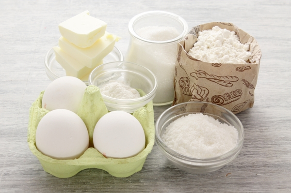 Ингредиенты для приготовления кокосового кекса