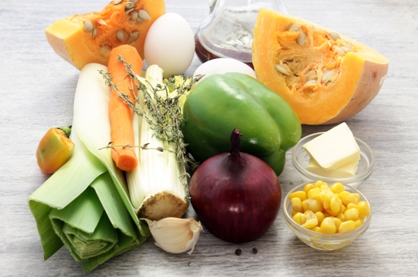 Ингредиенты для приготовления овощного пудинга
