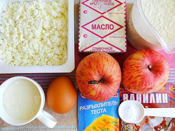 Ингредиенты для открытого пирога из творожного теста