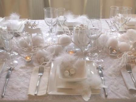 Новогодний декор стола: снег