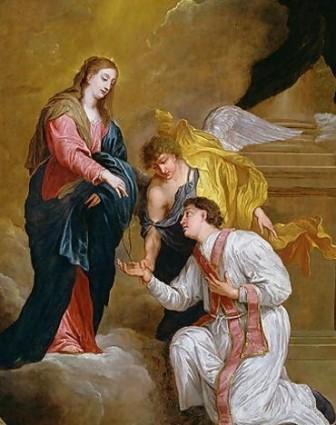 Святой Валентин принимает четки от Девы