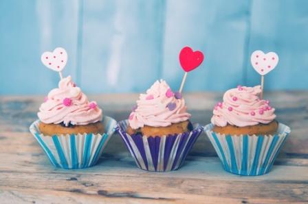 Порционные кексы-валентинки