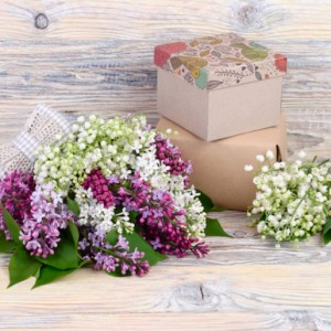 Сирень на деревянном фоне и подарочные коробки