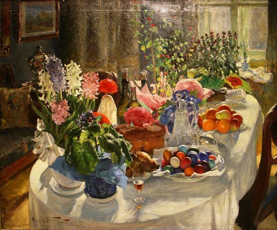 """Картина Маковского """"Пасхальный стол"""""""