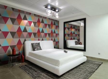 Геометрический рисунок в спальне